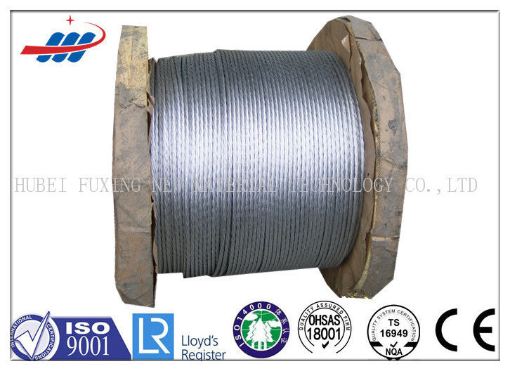 Hot Dipped Galvanized Steel Strand For Guy / Ground Wires , Stranded Steel Cable
